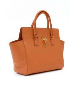 Anna Karin Medium Orange Textured-Leather Tote