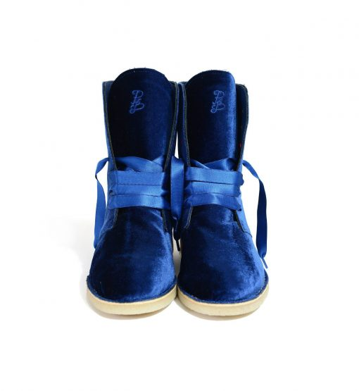 Anfibio Royal Blue Velvet Concealed Wedge Boots