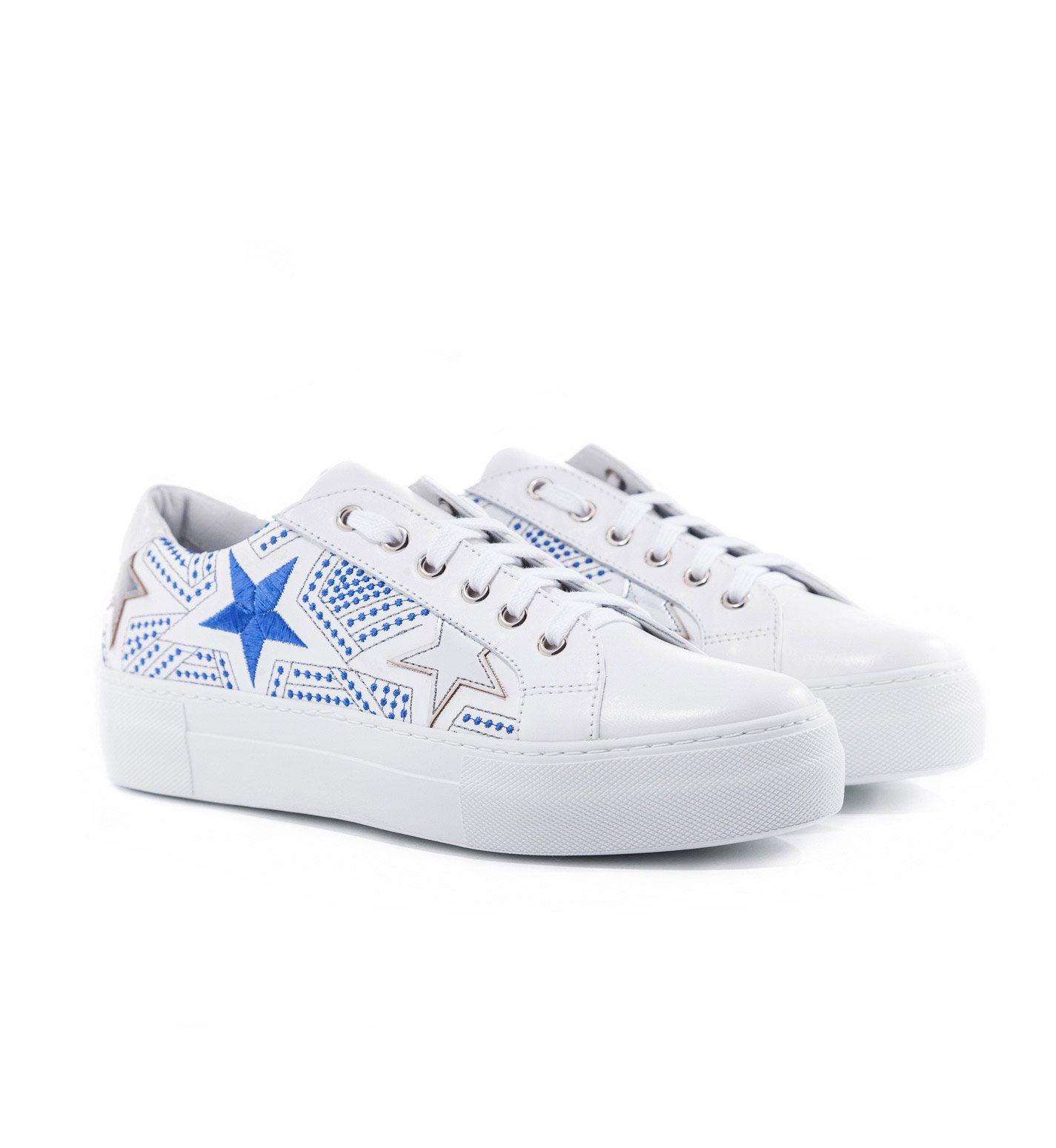 Silver Stars Leather Sneakers